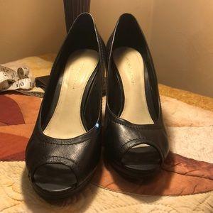 Antonio Melani peep toe leather shoes